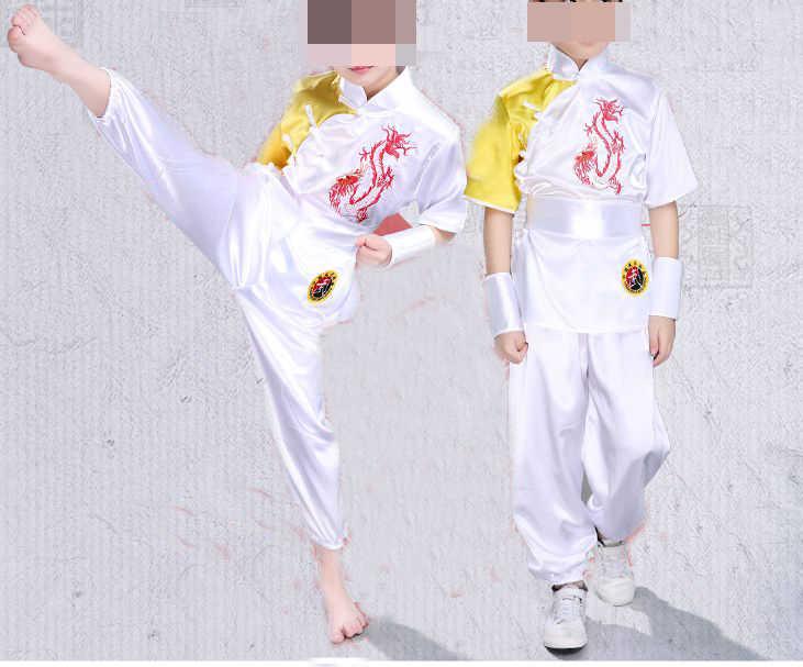 Unisex crianças & adulto 4 cor do Verão de manga curta tai chi roupas desempenho artes marciais kung fu dragão Bordado ternos uniforme