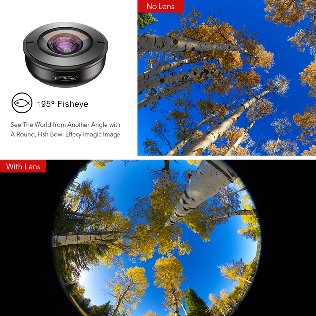 APEXEL High quality mobile lens HD 195 degree super fish eye fisheye lentes 4k phone camera lenses for iPhone 7 8 X Xiaomi phone 2