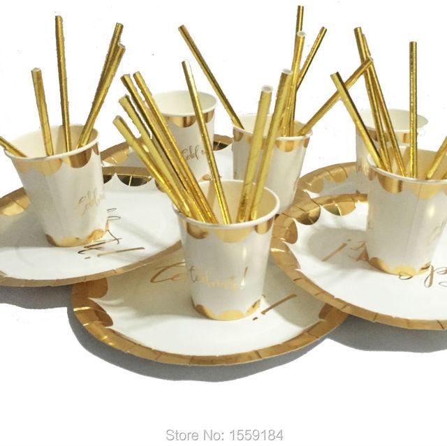 41pcs Foil Gold Party Tableware Set Decoration Metallic Gold Paper Plates Cups Straws for Wedding Birthday  sc 1 st  AliExpress.com & 41pcs Foil Gold Party Tableware Set Decoration Metallic Gold Paper ...