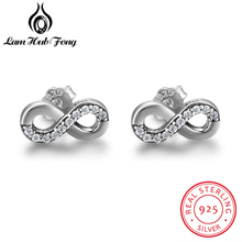 New Real 925 Sterling Silver Earrings For Women Number Eight Design Infinity Endless Symbol Stud Earrings Jewelry (Lam Hub Fong)