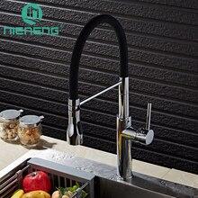 Nieneng Кухонная мойка кран черный и chrome Палуба горе вытащить сопла распылителя горячая холодная смесители воды украшения ICD60385