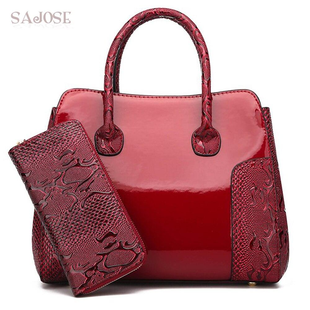 Sac à main pour femmes mode 2 ensembles en cuir verni gaufré sac à bandoulière Vintage pour femmes Style chinois sac fourre-tout pour dames livraison directe
