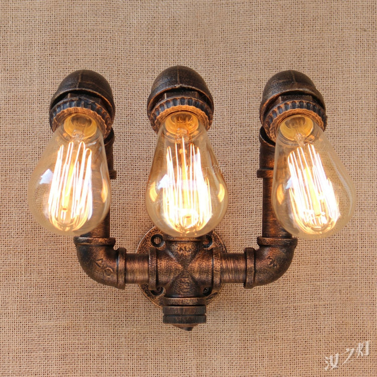 American retro water pipe wall lamp industry loft personality aisle restaurant bar iron pipe wall lamp 1 heads american industrial vintage loft style creative personality iron water pipe restaurant retro wall lamp free shipping