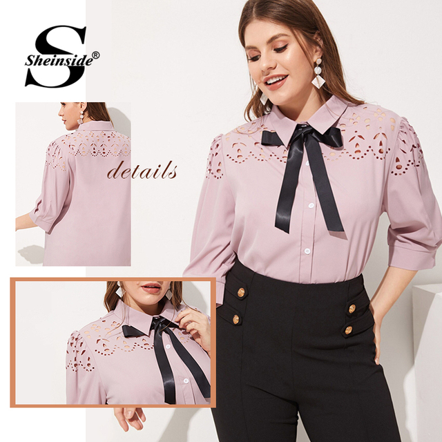 Sheinside Plus Size Pink Hollowed Out Blouse Women 2019 Spring Half Sleeve Blouses Ladies Elegant Solid Bow Tie Neck Top 5