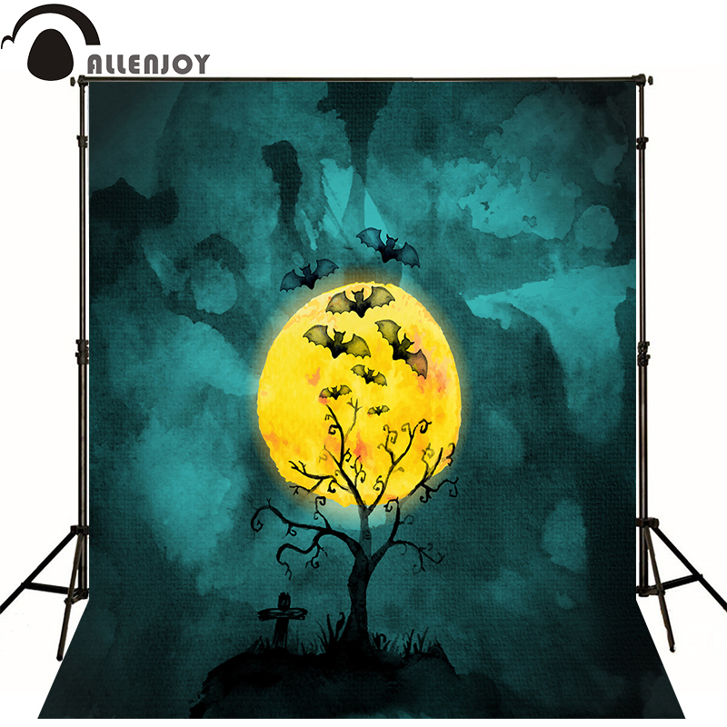 Allenjoy Photographic backdrop Tree Moon Bat Cemetery Halloween theme vinyl Painting background Lovely baby photography studio 7ipupas hot selling fashion women shoes women casual shoes comfortable damping eva soles flat platform shoe for all season flats