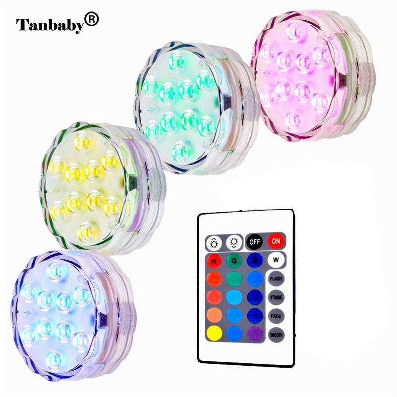Tanbaby Led Underwater Light 10leds RGB Pond Submersible Lamp Waterproof Swimming Pool Light Battery Operated for Garden Home