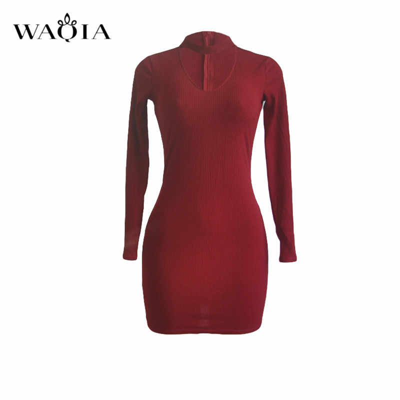 1de6cb24a580 ... WAQIA Autumn Women Knitting Dress 2018 Long Sleeve Sexy Short Pencil  Knitted Dress Slim Bodycon Party