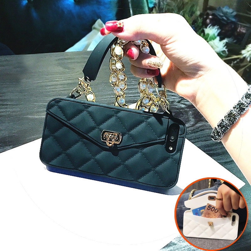 Luxury Fashion Soft Silicone Card Bag Women Handbag Purse Phone Case Cover  With Chain For Iphone fa24486aa170
