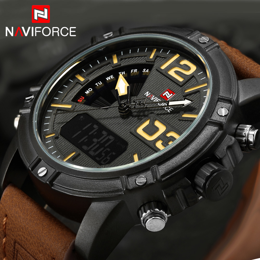 NAVIFORCE Watches Men Luxury Brand Quartz Leather Clock Man Sport Watches Army Military Watch Sports Relogio Masculino 9095 Box weide new men quartz casual watch army military sports watch waterproof back light men watches alarm clock multiple time zone