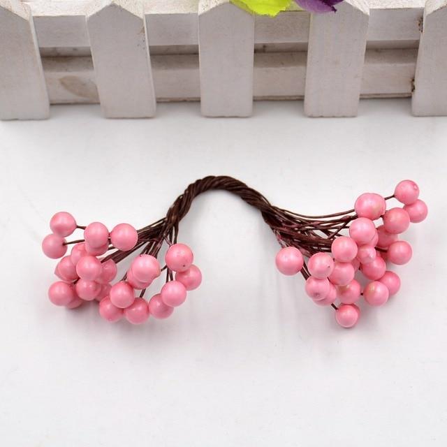 25pcs 50heads Artificial Flower Mini Berry Bacca Bouquet For Wedding Decoration DIY Scrapbooking Decorative Wreath Fake Flowers 3