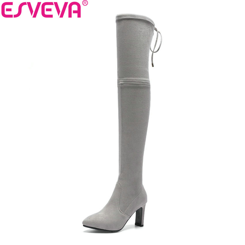 ESVEVA 2018 Women Boots Stretch Fabric Over The Knee Boots Autumn Shoes Thin High Heels Round Toe Elegant Woman Boots Size 34-39 стоимость