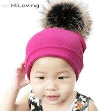 GZHilovingL niños Real de piel de sombrero del bebé niñas niños otoño  invierno suave tela de algodón Bola de piel sombrero Pom p. 2bbe92f1824