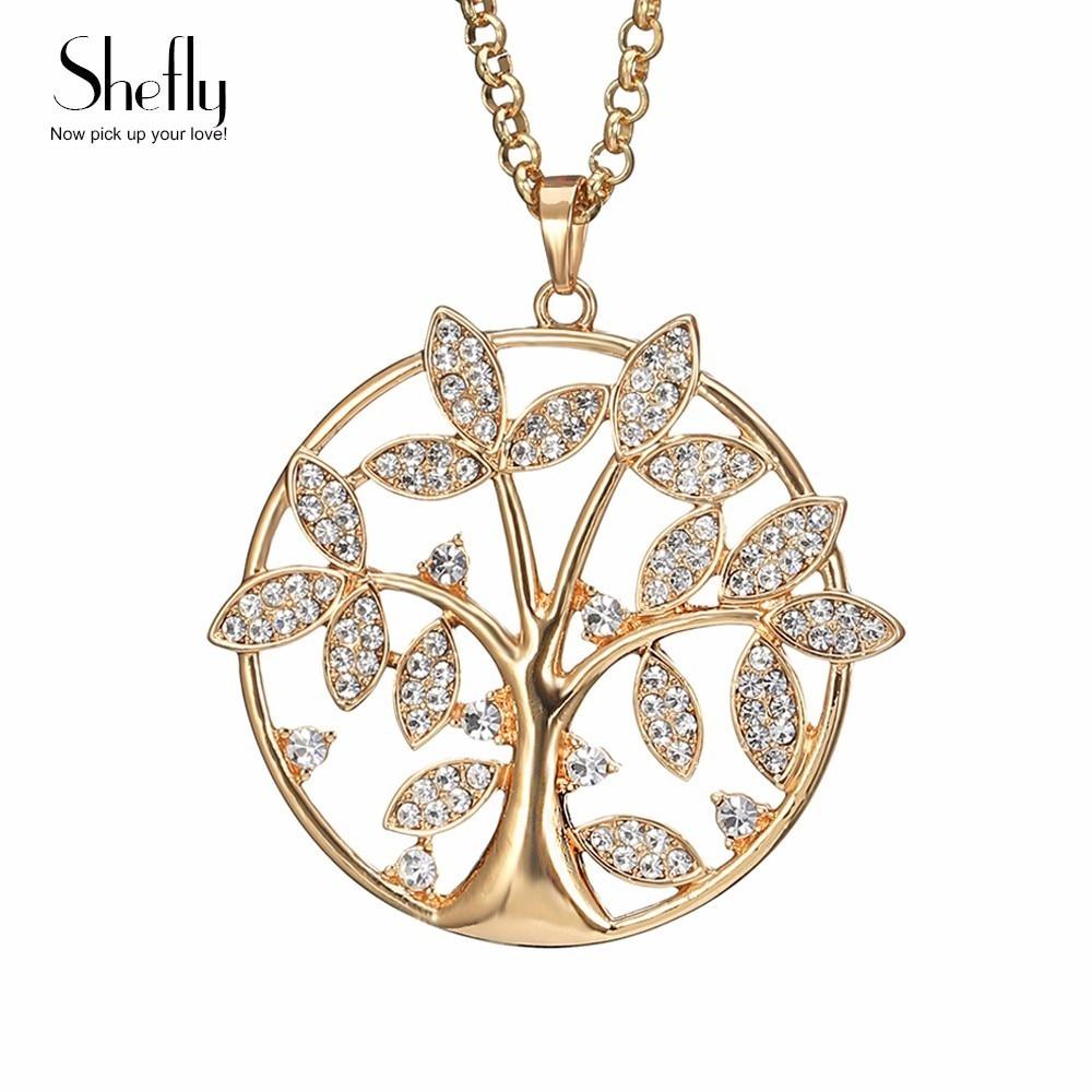 Δέντρο της Ζωής Κολιέ μενταγιόν Γυναικεία Κοσμήματα Crystal Charm Κολιέ Ασημί Χρυσό Χρώμα Μακρύ Maxi Κολιέ & Μενταγιόν XL07800