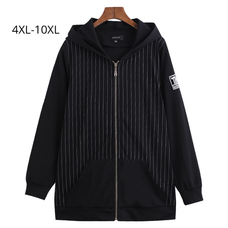 Plus Size 10XL 8XL 6XL 4XL Women Spring Long Sleeves Hooded Coat Female Black Basic Jacket