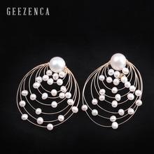 925 Sterling Silver 14K Roll Gold Baroque Pearl Hyperbole Round Stud Earrings Fine Jewelry Women Trendy Earring Party Gift недорого