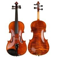 High Grade Natural Stripes Maple Violin Full Hand Made Alcohol Paint Violino 4 4 3 4