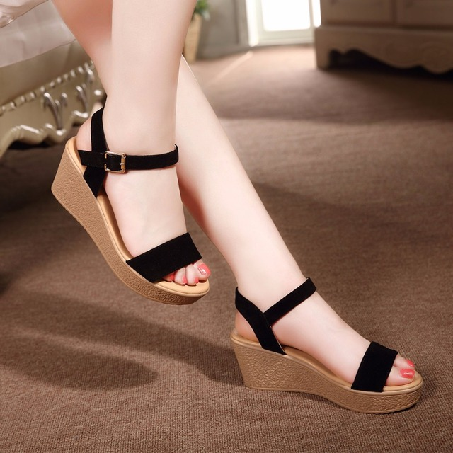 a8e8807a631 2018 NEW Summer New Open Toe Fish Head High Quality Low Price Platform High  Heels 7CM Wedge Sandals Female Shoes