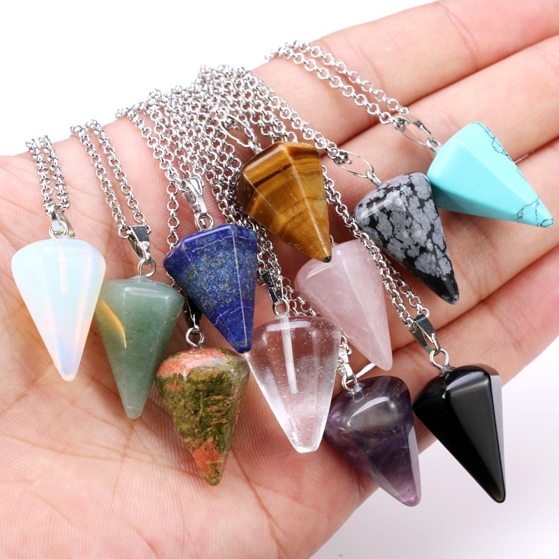 Natural Quartz Crystal Stone Energy Healing Point Reiki Chakra Cut Gemstones Pendant Necklace with Metal Chain