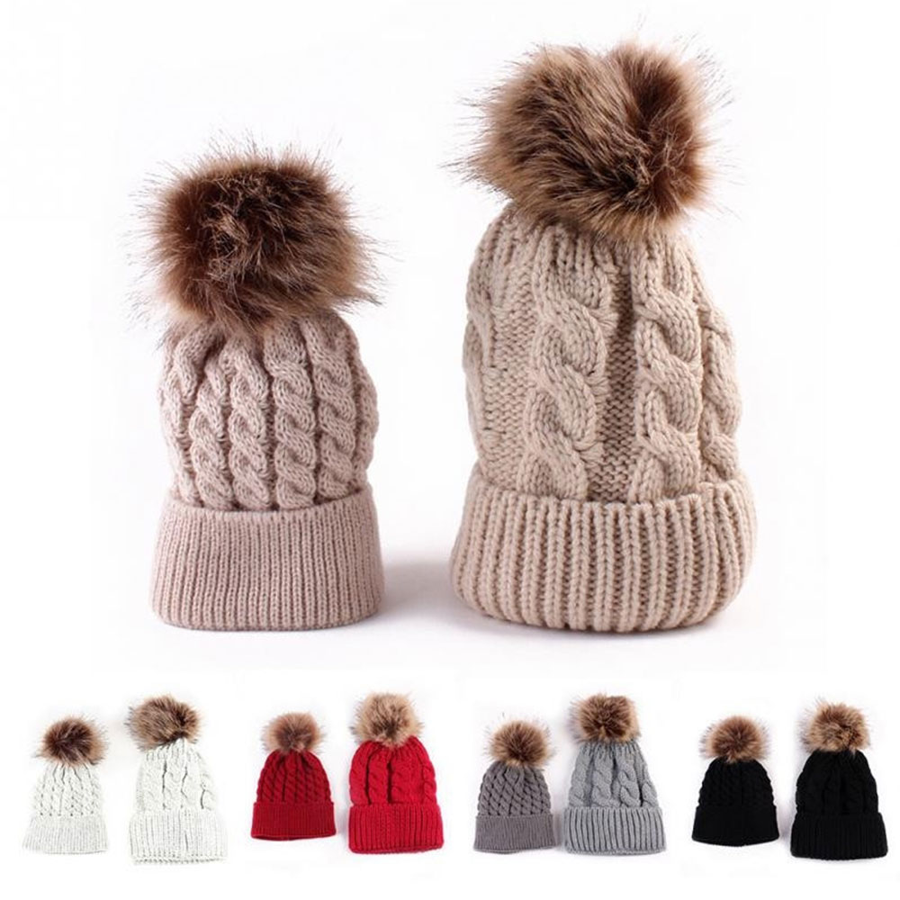 Caps Warm Beanie Baby and Mom Gifts Knitted Autumn Winter Parent-Child Hats