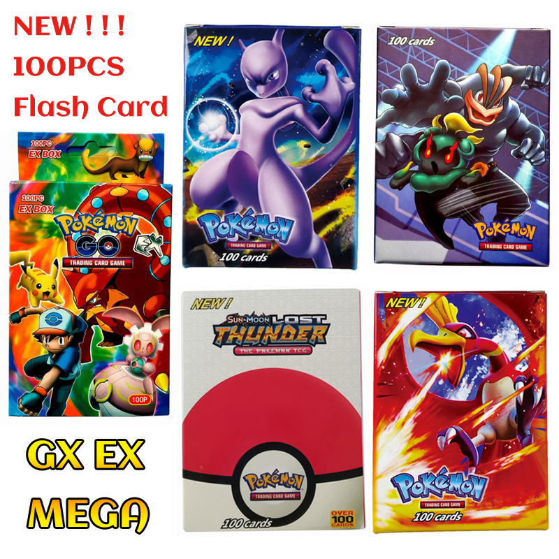 100PCS/Box Pokemon Cards EX GX Mega Flash Card New Without Repetition Collectible Trading Card Set Child Toy Gift