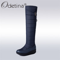 Odetina New Womens Knee High Snow Boots Waterproof Thick Fur Down Warm Winter Boots Platform Non