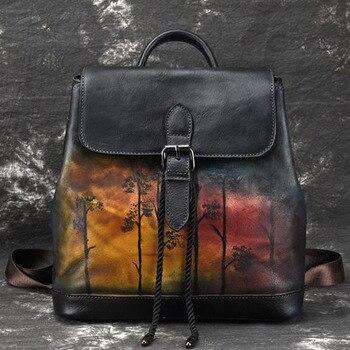 cbbe08c23c29 Женский рюкзак из натуральной кожи высокого качества из натуральной кожи в  китайском стиле рюкзак с тиснением дорожная сумка винтажный рюк.