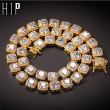 Hip Hop 10 MILLIMETRI Bling Ghiacciato Fuori Cubic Zirconia Braccialetto Della Collana Geometrica Piazza AAA CZ Pietra Da Tennis Catena Per Gli Uomini monili delle donne