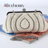 Top Grade Handmade Evening Bags Women Clutch Bags Evening Wedding Bridal Handbag Pearl Beaded Satin Fashion