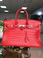Excellent quality crocodile skin women tote handbag 40cm big size matt crocodile skin women shopping bag genuine cow skin lining