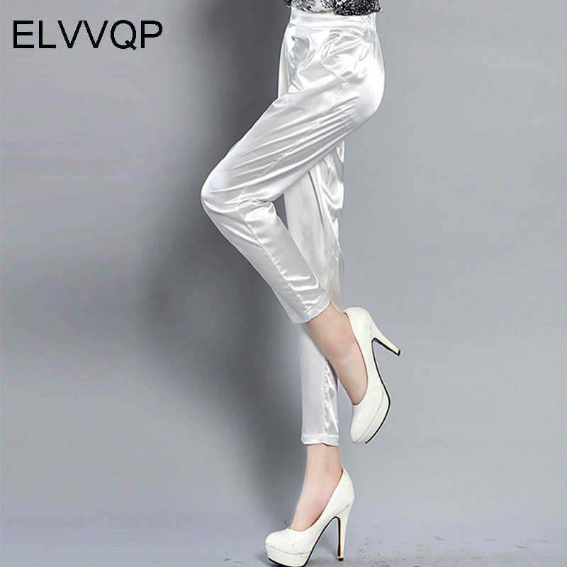 Spring and summer new silk thin section casual pants women's formal office work pants 4 color plus size code ladies pants LF176