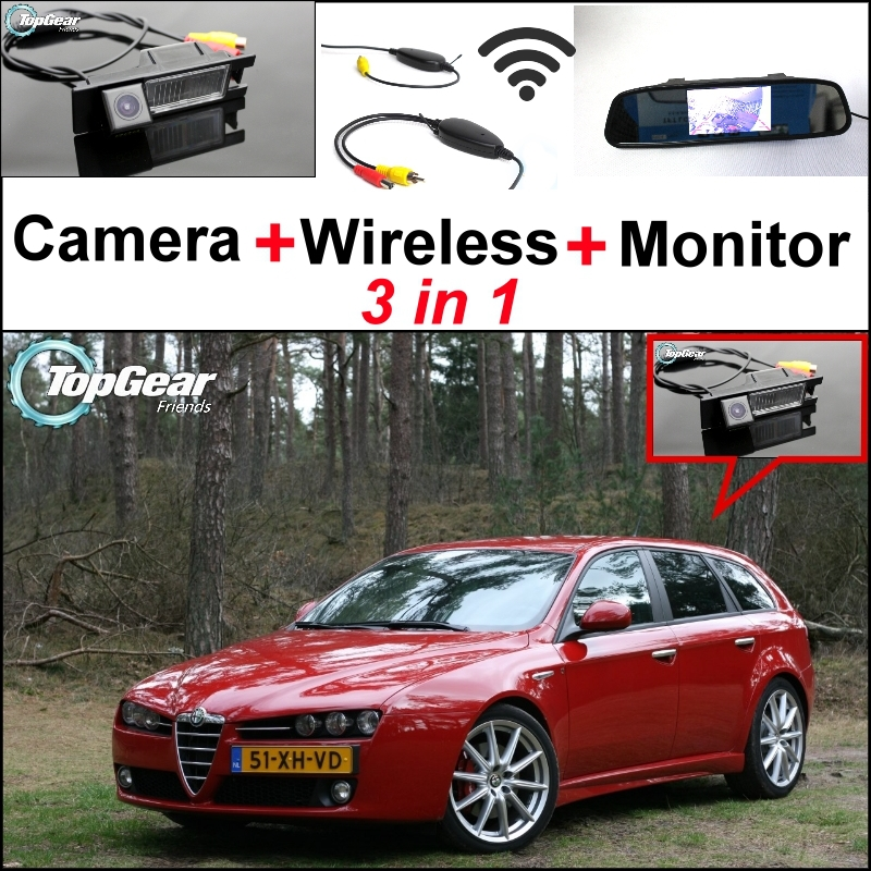 Wireless Receiver + 3 in1 Special WiFi  Rear View Camera + Mirror Monitor DIY Parking System For Alfa Romeo AR 159 wireless pager system 433 92mhz wireless restaurant table buzzer with monitor and watch receiver 3 display 42 call button