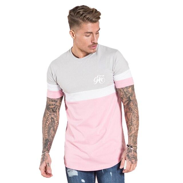 d1ac4115e88 Gingtto Men T shirt Signature Curve hem Chest Logo Pink White Tee Stretch  Designer Streetwear Cotton Spandex Shirt Man zm251