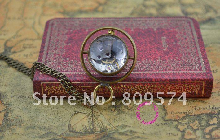 Оптовый покупатель цена хорошее качество девочка женщина дама Бронзовый спин стеклянный шар механический стимпанк карманные часы