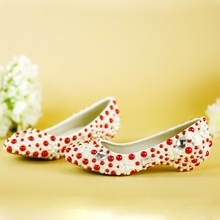 red/white pearl wedding shoes low heel woman shoes big size 34-44 women's party shoes free shipping