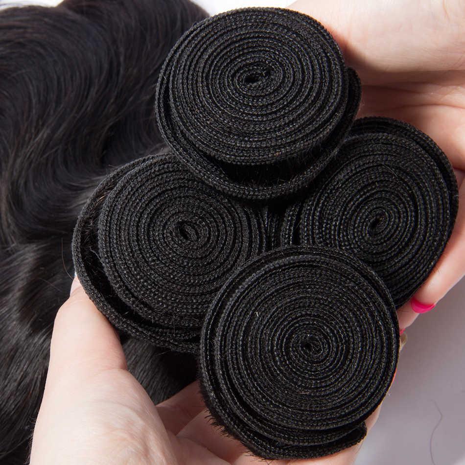 Başak malezya vücut dalga demetleri doğal siyah renk 1B % 100% İnsan saç paketler 1/3/4 adet Remy saç ücretsiz kargo