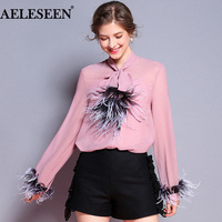 AELESEEN Fashion Office Blouses Autumn 2018 Elegant Carrer New Bow Feather With Lining Long Sleeve Luxury Shirt Women