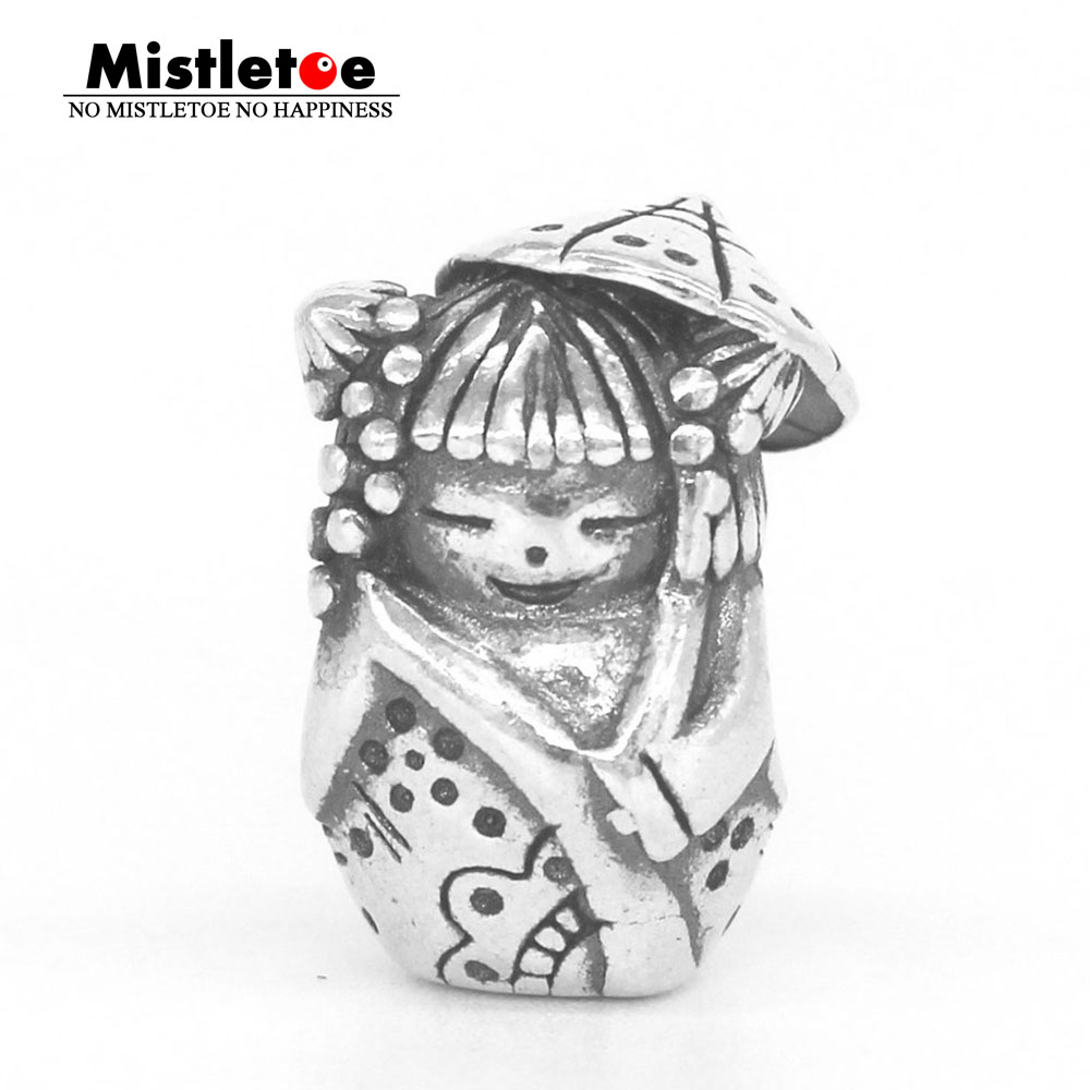Mistletoe Genuine 925 Sterling Silver Umbrella doll Charm Bead Fit OHM Troll And Pan Bracelet Jewelry стоимость