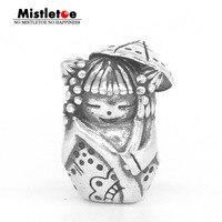 Mistletoe Genuine 925 Sterling Silver Umbrella doll Charm Bead Fit Troll And Pan Bracelet Jewelry