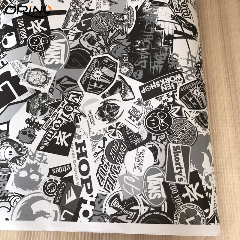 Black White Sticker Bomb Vinyl Wrap-4