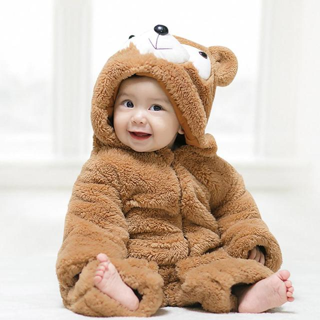 768b2204d4cc Cute Small Brown Bear Shape Baby Unisex Romper Winter Thickened ...