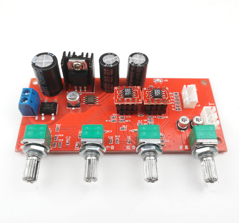 Ad828 * 2 Tono Preamplificatore Amplificatore Board Con Alti, Bassi, Bilanciamento, Regolazione Del Volume Single-alimentazione Di Funzionamento