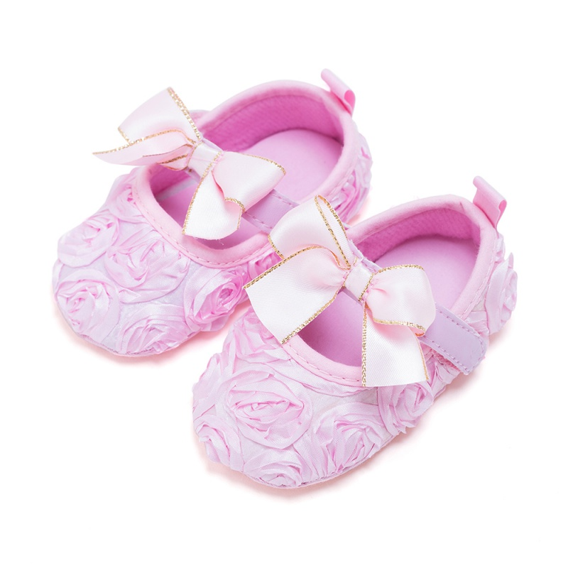 2017 New Style 0-2Y Baby Girls Cute Canvas Shoes Kids Girls Solid Color Butterfly-knot Princess Shoes S2