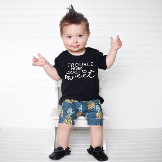 Trouble Never Looked So Sweet Trouble Maker Shirt Cute Boy Girl Graphic Tee Shirt Summer Short Sleeve Fashion Tops Clothes