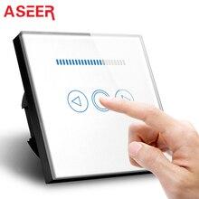 ASEER Standard ue przełącznik, inteligentny przełącznik ściemniacz 500W, luksusowe szklany Panel z białego kryształu, AC110 ~ 240V ściemniacz LED przełącznika światła na ścianie