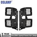 Oslamp 18 W Virutas DEL CREE LED de Trabajo Luz Del Punto de Inundación 12 v 24 v Llevó la Lámpara de Conducción Faro Soportes de Montaje para Jeep Wrangler JK 2007-2015