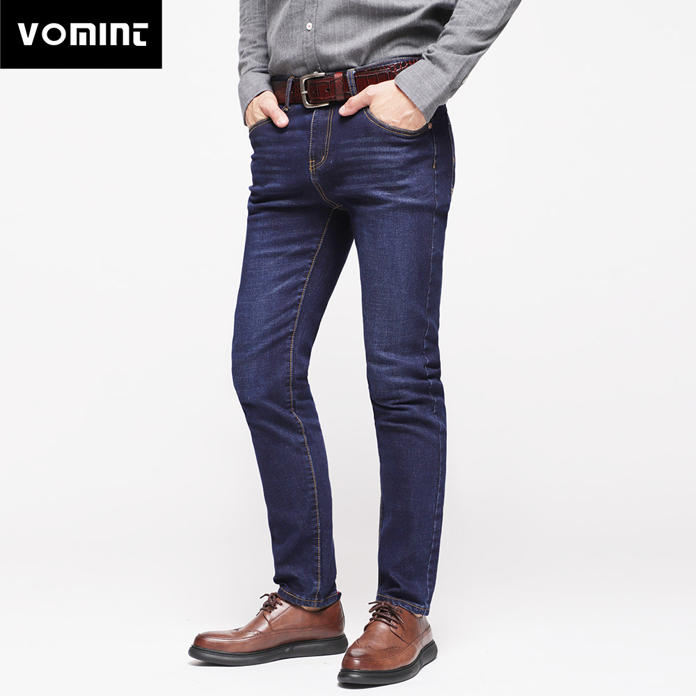 2018 New Arrival Mens Jeans Cotton Trousers Pocket Leather Straight Classic Casual Elasticity Slim Fit Trousers Male Hot