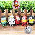 Cartoon Despicable Me Minions Mix Super Hero LED Keychain with Sound and Light PVC Key Ring Pendant Chaveiro Gift 5-6.5cm AK0063