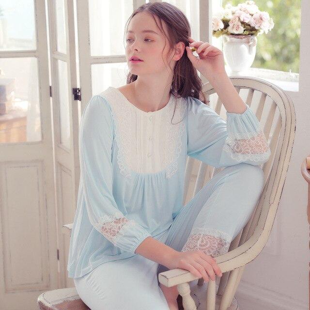 New Cute Autumn Women Royal Modal Pajamas Set Lady Pyjimas Hollow Lace Sleepwear  Retro Style QW1871