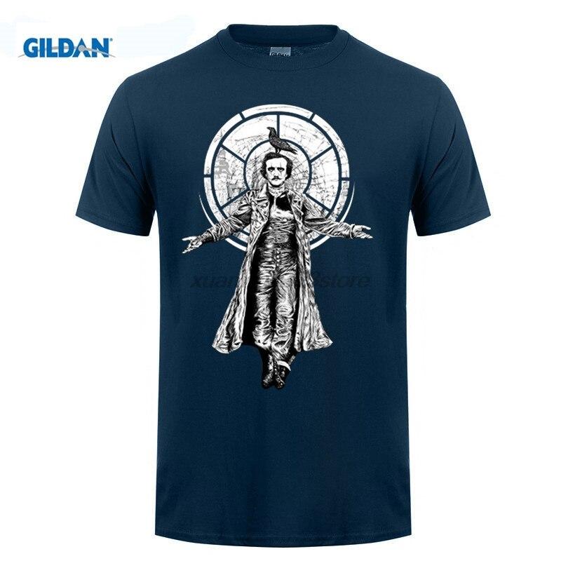 GILDAN casual popular The Raven Edgar Allan Poe Mens T-Shirt male tops tee hot sell fashion O-Neck T Shirt ...