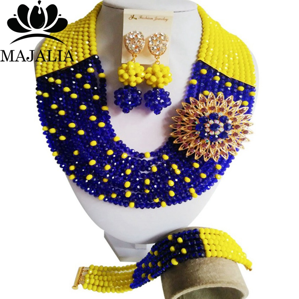 2017 Fashion african beads jewelry set yellow and blue Nigeria Wedding Crystal necklace Bridal Jewelry sets Free shipping VV-0562017 Fashion african beads jewelry set yellow and blue Nigeria Wedding Crystal necklace Bridal Jewelry sets Free shipping VV-056